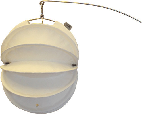 Weatherproof Barlooon Lampion in white in size S mounted on a ground spike.