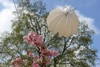 Our Barlooon in white and red at the garden show in the Havel region 2015 - mounted on a wire rope.