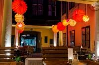 The weatherproof and robust lantern Barlooon in Café Latte 1070 Vienna Austria - The patio lighting.