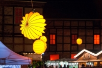 The weatherproof and robust lampion Barlooon during Advent in the courtyards in Quedlinburg Christmas lighting.