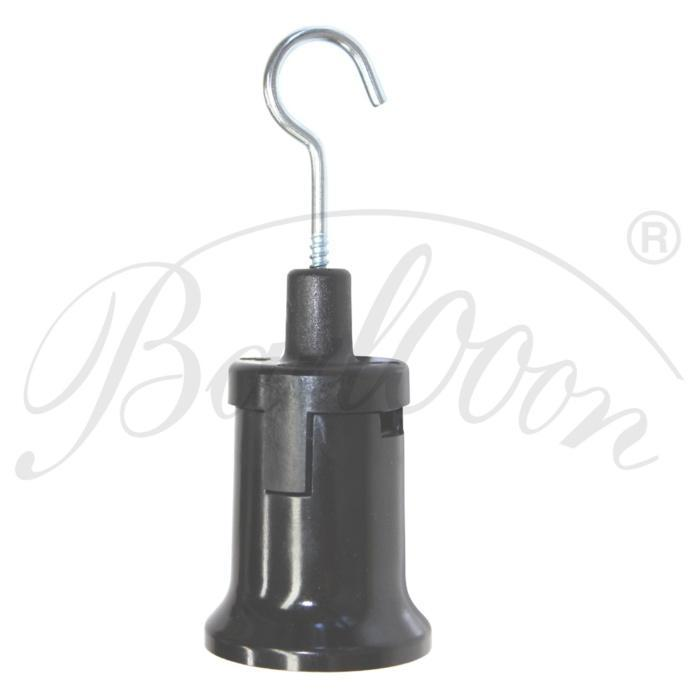 Illu-Fassung E27 mit Haken in schwarz im Detail - Beleuchtungszubehör für den wetterfesten und robusten Outdoor Lampion Barlooon.