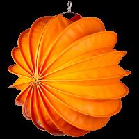 Der wetterfeste Outdoor Lampion Barlooon in orange in der Grösse L - Die Seitenansicht.