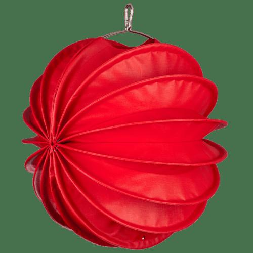 Der wetterfeste Outdoor Lampion Barlooon in rot in der Grösse M - Die Seitenansicht.