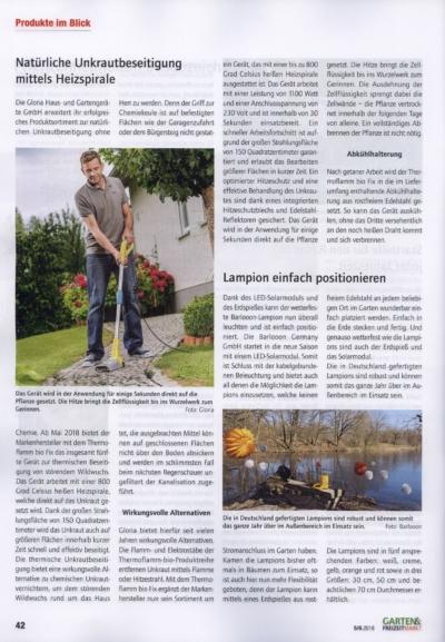 Garten & Freizeitmarkt Fachzeitschrift fuer den Gartenfachhandel Ausgabe 5 6 2018 Pressemitteilung wetterfester Lampion Barlooon Bericht