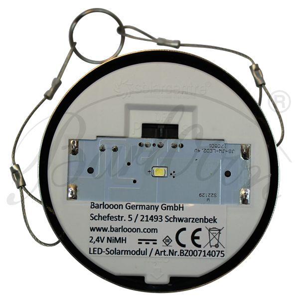 Das LED Solarmodul für den wetterfesten Lampion Barlooon in der Unteransicht