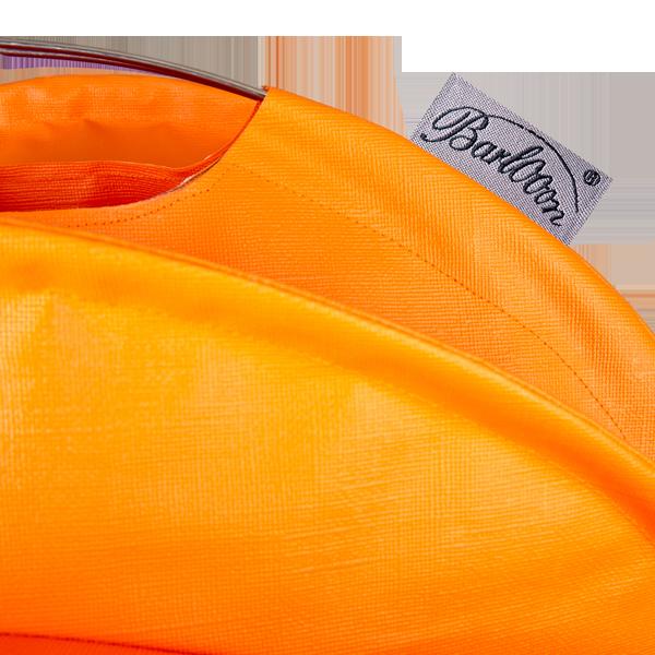 Der wetterfeste Outdoor Lampion Barlooon in orange in der Grösse S - Das Label.