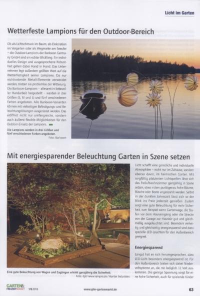 Garten & Freizeitmarkt Fachzeitschrift fuer den Gartenfachhandel Ausgabe 1 2 2019 Pressemitteilung wetterfester Lampion Barlooon Bericht