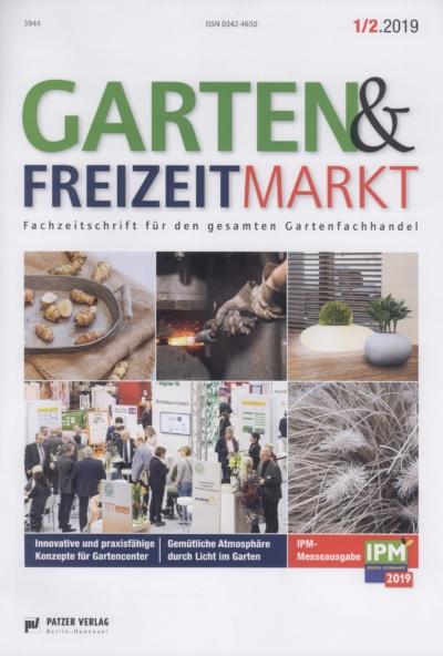 Garten & Freizeitmarkt Fachzeitschrift fuer den Gartenfachhandel Ausgabe 1 2 2019 Pressemitteilung wetterfester Lampion Barlooon Cover