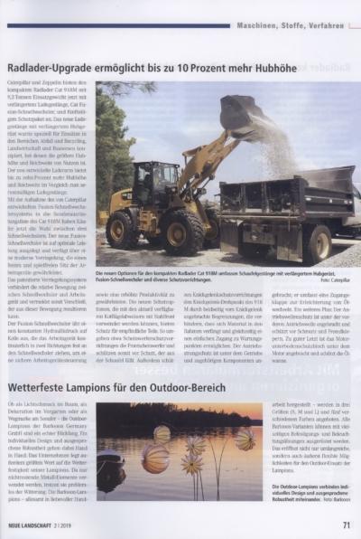 Neue Landschaft Fachzeitschrift fuer Garten Landschaft Spiel und Sportplatzbau Ausgabe 2 2019 Pressemitteilung wetterfester Lampion Barlooon Bericht