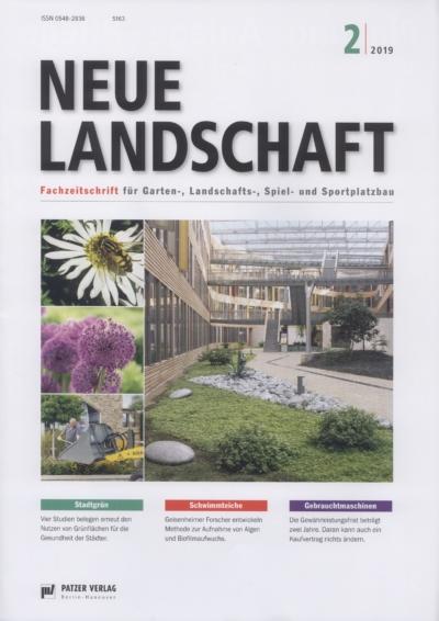Neue Landschaft Fachzeitschrift fuer Garten Landschaft Spiel und Sportplatzbau Ausgabe 2 2019 Pressemitteilung wetterfester Lampion Barlooon Cover
