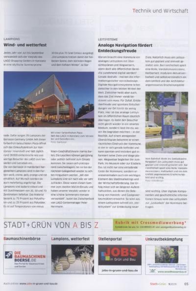 Stadt und Gruen 5_2019 Pressemitteilung wetterfester Lampion Barlooon Bericht