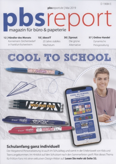 pbs report magazin für büro & papeterie Ausgabe Mai 2019 Pressemitteilung wetterfester Lampion Barlooon Cover