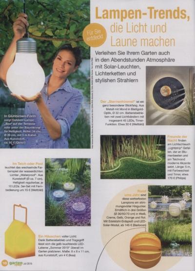 Garten Spaß Ausgabe Juli 2019 Pressemitteilung wetterfester Lampion Barlooon Bericht