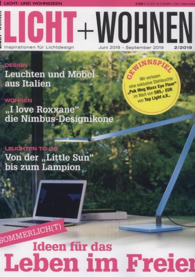 Licht + Wohnen Inspirationen für Lichtdesign Ausgabe Juni - September 2019 Pressemitteilung wetterfester Lampion Barlooon Cover