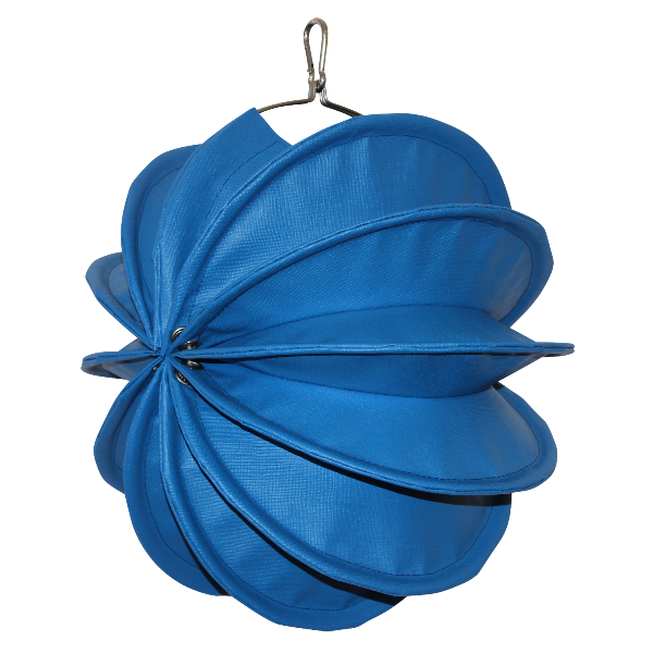 Der wetterfeste Outdoor Lampion Barlooon in blau in der Grösse S - Die Seitenansicht..