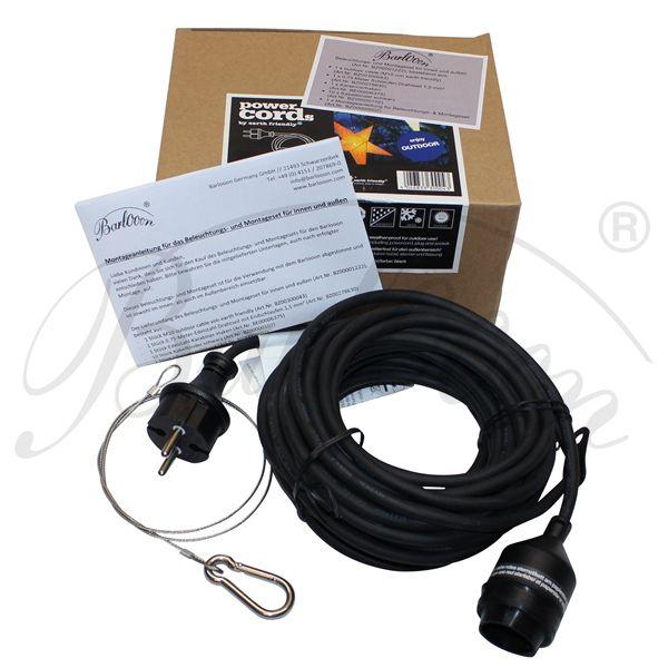 Das Montage- und Beleuchtungsset für den wetterfesten und robusten Lampion Barlooon mit 10 Meter Kabel