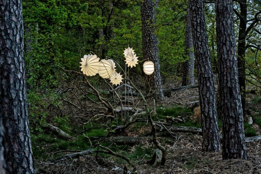 Weatherproof and robust lampion Barlooon in white on a ground spike in an original forest.